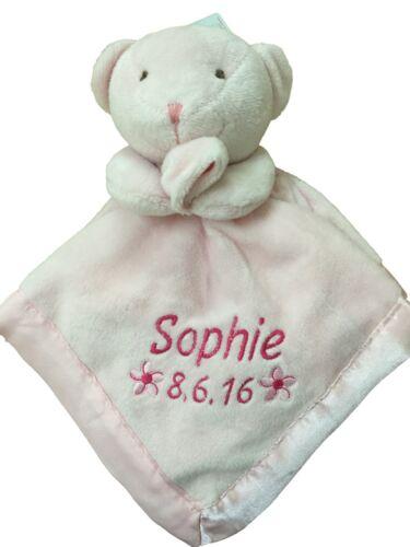 PERSONALISED BABY TEDDY BEAR COMFORT BLANKET IN PINK//Comforter//Snuggle Blankie