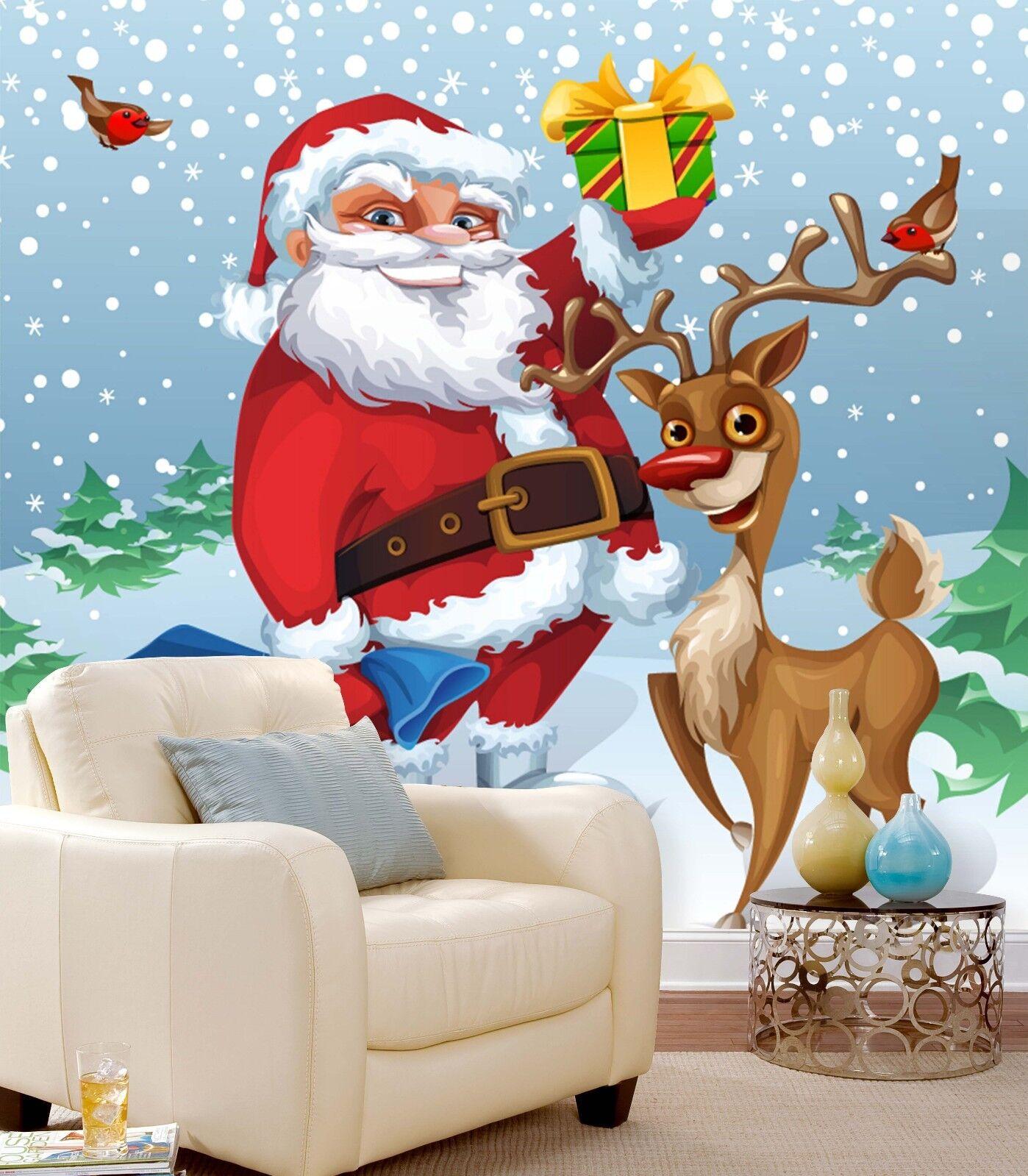 3D Santa Claus Deer 74 Wall Paper Murals Wall Print Wall Wallpaper Mural AU Kyra