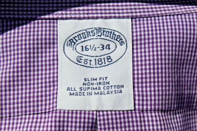 Brooks Brothers 16.5/34 Slim Violet Check Fit Non-Iron Supima Cotton Dress Shirt