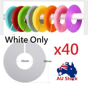 40-WHITE-Blank-Writable-Plastic-Shop-Clothing-Rack-Round-Size-Divider-Ring-Plate
