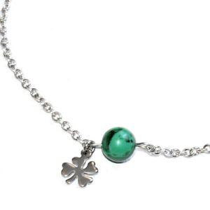 Chaine-bracelet-de-cheville-acier-coul-argent-Malachite-breloque-bijou
