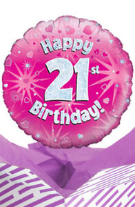 Image Is Loading 21st Birthday Pink Balloon In A Box Gift