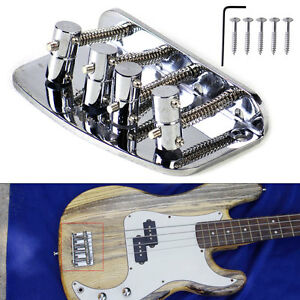 silver vintage 4 string bridge for squier fender precison jazz bass guitar parts. Black Bedroom Furniture Sets. Home Design Ideas