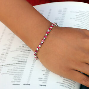 Ruby-Diamond-Charm-Pave-Tennis-Link-Chain-Bar-Bracelet-14K-White-Gold-Jewelry