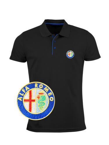 Herren Alfa Romeo Slim Fit Polo T Shirt GESTICKTE Auto Logo Tee Stickereien