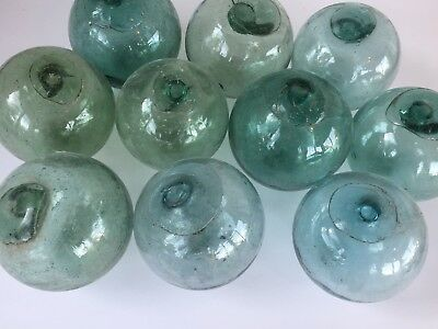 """10 x 3/"""" Japanese Glass Fishing Floats ~ No Netting ~ Authentic Old Vintage"""
