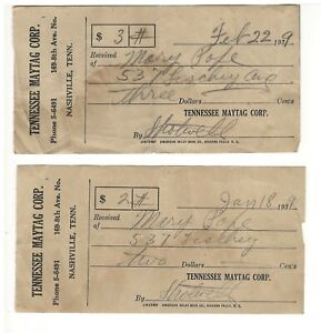 Pair of 1939 Receipts, Tennessee Maytag Corporation, Nashville TN to Mary Pope