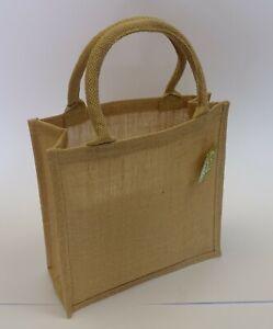Borsa da donna shopper sacchetto in stoffa juta naturale 30+12x30 con manici
