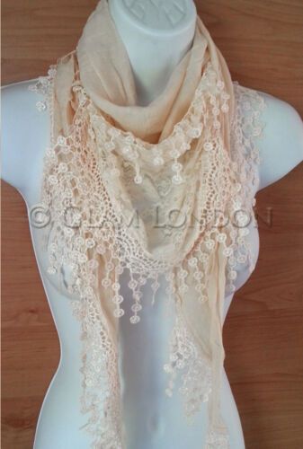 Lace Scarf Triangular Crochet Design Lightweight Ladies Fashion Top Wrap Scarves