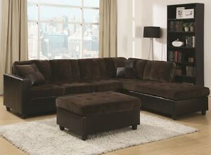 Image Is Loading Chocolate Brown Velvet Sectional Sofa W Reversible Chaise