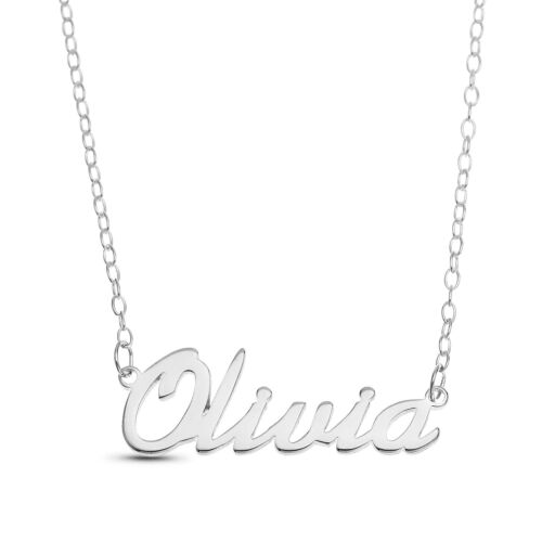 """/""""Olivia/"""" Name Plate Necklace Pendent Sterling Silver chain Personalized Custom"""