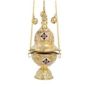 High-Quality-Brass-Liturgical-Christian-Church-Thurible-Censer-4-Chains-12-Bells