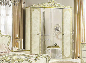 Details zu Schlafzimmer Kleiderschrank Beige Hochglanz Leonardo Barock Stil  Italienisch