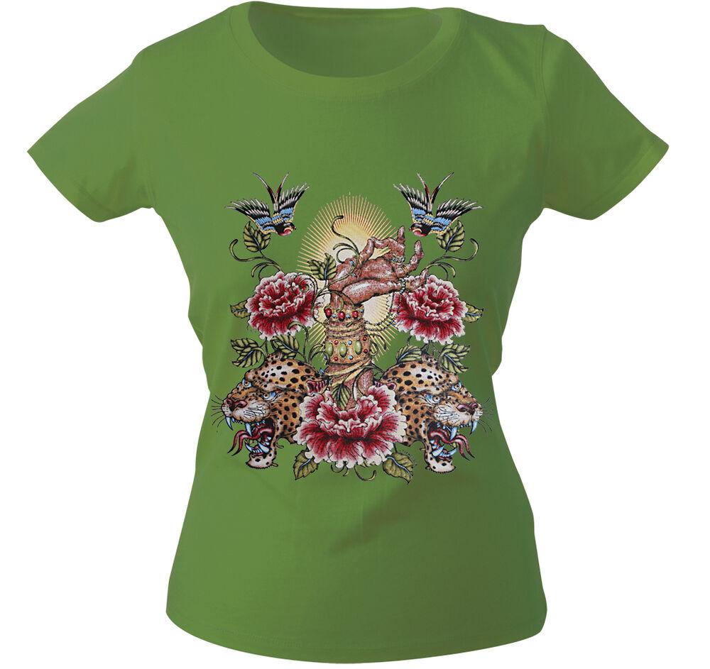 (10893 Vert) Girly T-shirt S M L Xl Xxl Femmes Motif Shirts ○ Tigre ○ Main ○