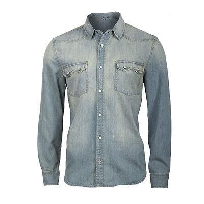 Cooles Jeanshemd - Denim verwaschen - Freizeithemd - S-XXL - Neu - langarm Hemd