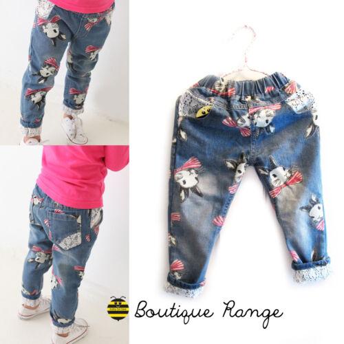 Ragazza Pantaloni Jeans con elastico in vita Carino Bunny DENIM CON ELEGANTE PIZZO 2-7y