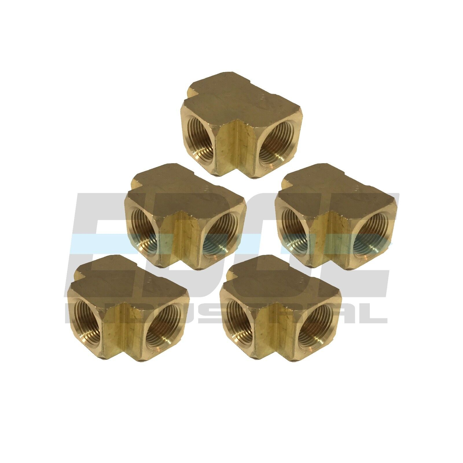 BRASS TEE Fitting EQUAL T 3 4  Female NPT Pipe Thread Tubing Air Fuel QTY 5