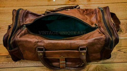 NEW Men/'s genuine Leather luggage gym weekend overnight duffle bag large vintage