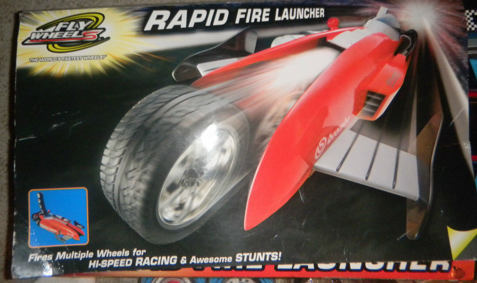 FLY WHEELS RAPID FIRE LAUNCHER + 2 2 2 NEW SETS OF WHEELS IN BOX By Road Champs 320f35