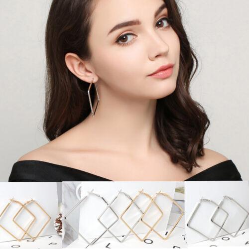 Fashion Gold Silver Large géométrie Carré Boucles D/'oreilles Créoles Parti Bijoux Femmes