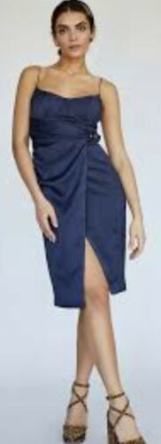 NWT $340 Free People Misha Collection Navy Blue RINA Silky Belted Bustier Sz 2 8