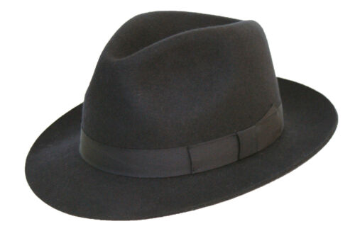 NAVY Gents 100/% Wool Hand Made Felt Fedora Trilby Hat With Matching Band