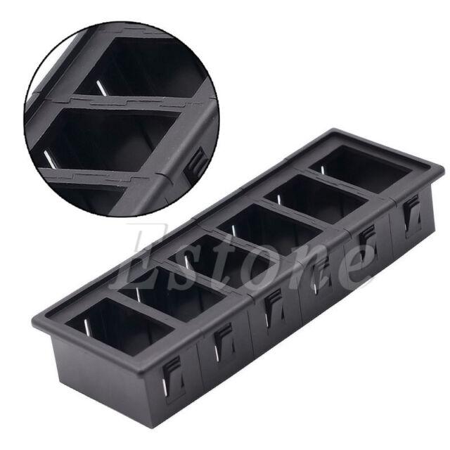 6pcs//Set 6 Gang Boat Rocker Switch Clip Panel Patrol Holder Housing Black