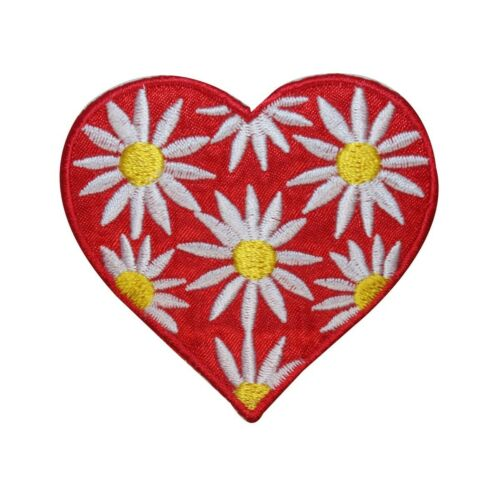 ID 3243 Heart With Daisy Flowers Patch Valentines Embroidered Iron On Applique
