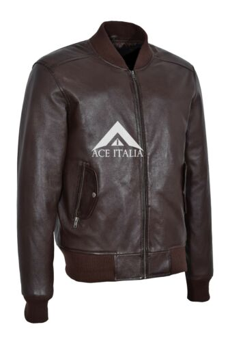 70/'S RETRO BOMBER Men/'s Brown Cool Clasic Soft Italian Napa Leather Jacket 1229