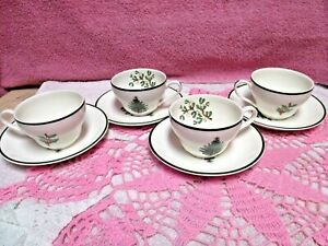 Cuthbertson-Original-Christmas-Tree-Cup-Saucer-Sets-Narrow-Green-Band-4-Sets