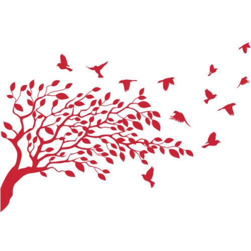 Sticker Décoration XXL Nature Arbre et envolée d/'oiseaux, 40x59 cm à 70x103 cm