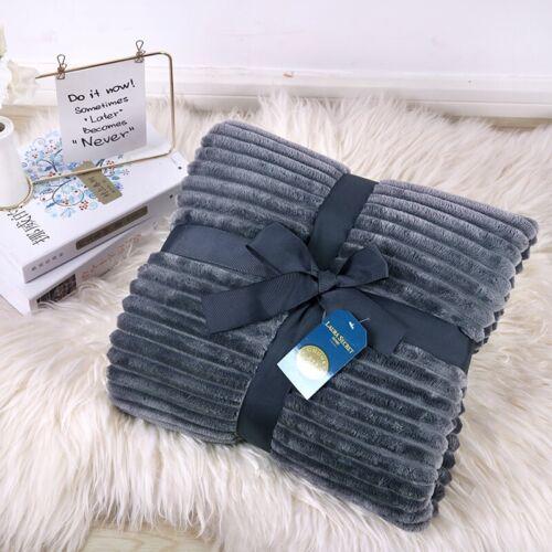 Super Doux Chunky Rib Chaud Canapé Lit Couverture Polaire Luxe 150 x 200 double