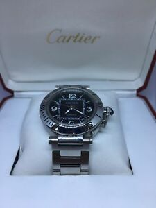 32dc8f61079 Image is loading Cartier-Pasha-Seatimer -Unisex-Automatic-Swiss-Watch-Stainless-