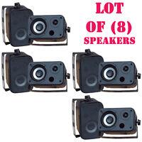 Lot Of (8) Pylehome Pdwr30b 3.5'' Indoor/outdoor Waterproof Speakers (black)