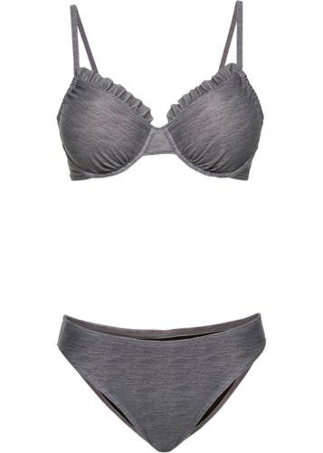 Bikini Set grau melange 38 75 40 80 Cup D sitzt super mit Rüsche am Cup 865  neu