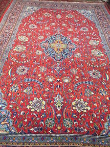 """7'9"""" x 11'8"""" Traditional Turkish Floral Oriental Rug - Hand Made - 100% Wool"""