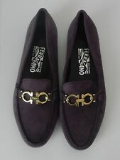Salvatore Ferragamo Women's Suede Purple Loafer Shoes size 7.5 B/ Fit 6.5