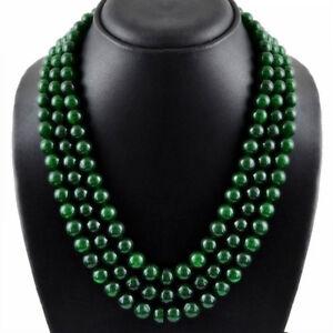 Handmade-8mm-Natural-Green-Jade-Round-Gemstone-Beads-Necklace-51-039-039-AAA
