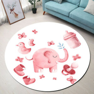 Details About Pink Little Elephant Kid S Room Carpet Round Rug Floor Mat Area Rugs Memory Foam
