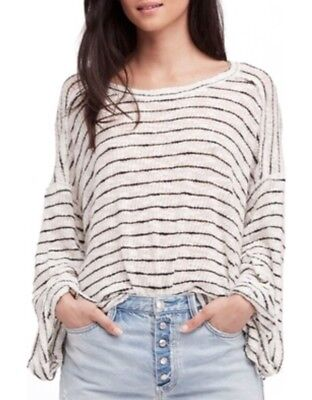 New Free People XS S M  Oversized Striped Island Girl Hacci-Knit Top white.