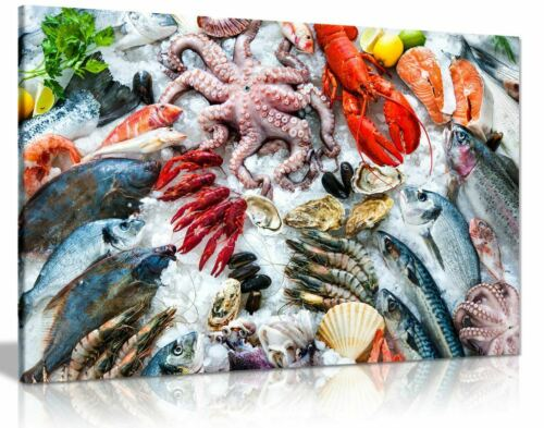 Seafood Fish Market Canvas Wall Art Picture Print