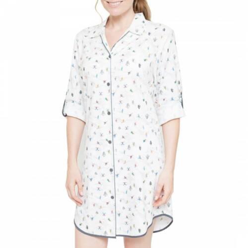 Femme /'Aspen/' Gris /& Blanc Ski Imprimé Chemise de nuit-Taille 16