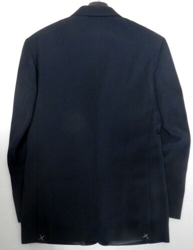 Riccardo Fazzi Sport 3 Brass Crest Button Solid Navy Suit Jacket Blazer Italy