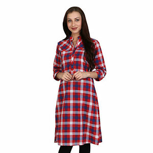 Vipakshi Women's Multi-Color Checkered Printed Cotton Kurti (HR-2500 R)