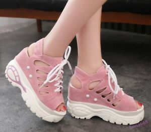 Women's  Sandals Wedge Heel Shoes Hollow Out Lace Up Platform Athletic Sandals