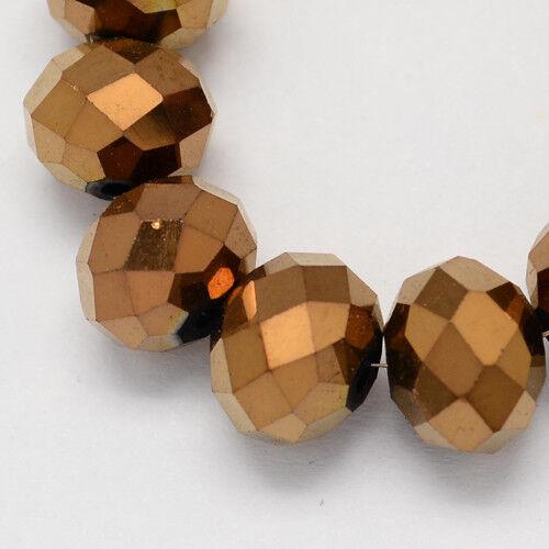 80 cristal esmerilado perlas 6x5 mm marrón cobre abalorios fuego pulido joyas nuevo