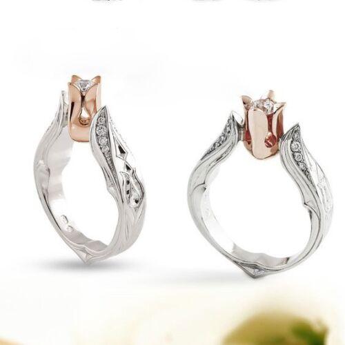 Women Men Charm 925 Silver Ring 1.2ct White Topaz Engagement Wedding Size 6-10