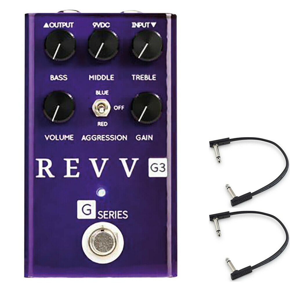 Revv Amplification G3 Distortion Pedal w  (2) Flat Patch Cables