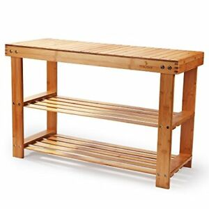 Peachy Details About Natural Bamboo Entryway Shoe Bench 28 X 18 11 Hallway Wood Rack For Bedroom Machost Co Dining Chair Design Ideas Machostcouk