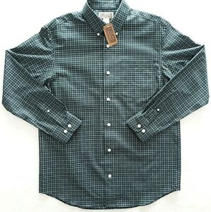 Duluth-Trading-Co-Men-s-Button-Up-Down-Shirt-Plaid-Green-No-Iron-Twill-Medium